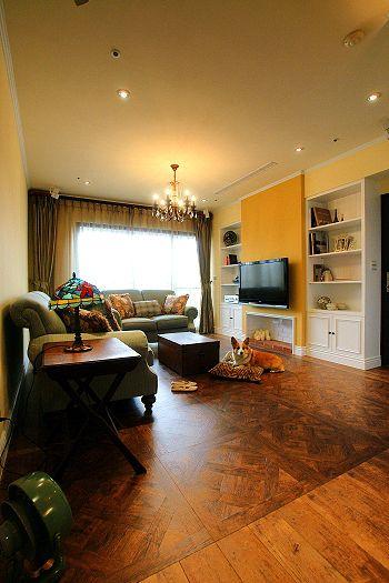 宜家风格温馨黄色客厅装修图