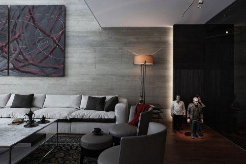 创意时尚宜家风格黑色客厅装修
