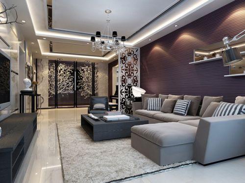 简欧风格客厅装潢设计2016