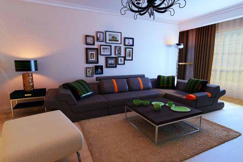 纯净简欧风三室一厅客厅温馨装潢