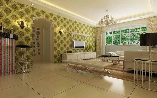 简欧设计清新二居室客厅宽敞设计