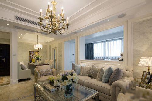 白色简欧风格客厅背景墙隔断设计图