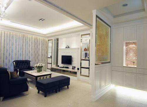 精致轻奢简欧风格白色客厅隔断装修图