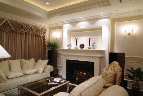 米色简欧风格客厅壁炉效果图欣赏