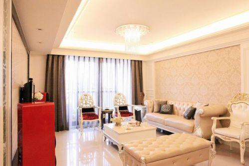 新古典浪漫雅致风格米色客厅装潢装饰设计图片