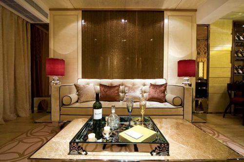 新古典黄色客厅装潢案例