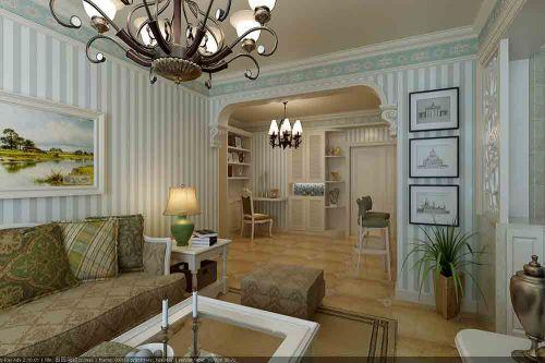 白色简欧舒适客厅装潢设计