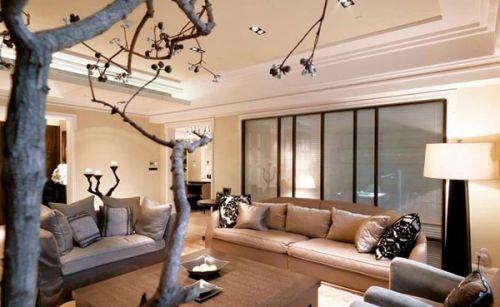 创意仿古新古典风格米色客厅装修图