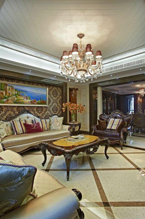 褐色新古典风格客厅装修案例