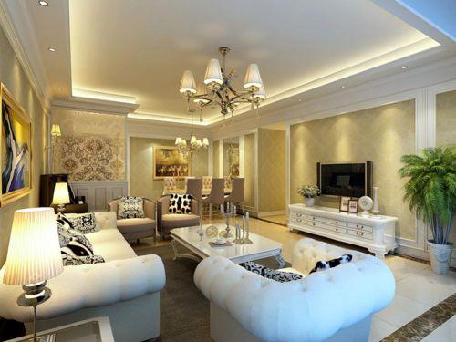 精美优雅温馨简欧风格客厅装修欣赏