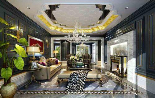 暗色系简欧风格华丽客厅装修效果图