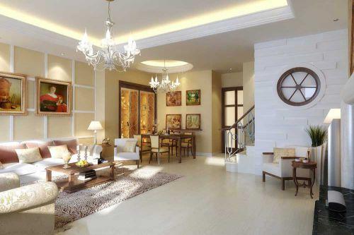 清新低奢简欧设计客厅效果图