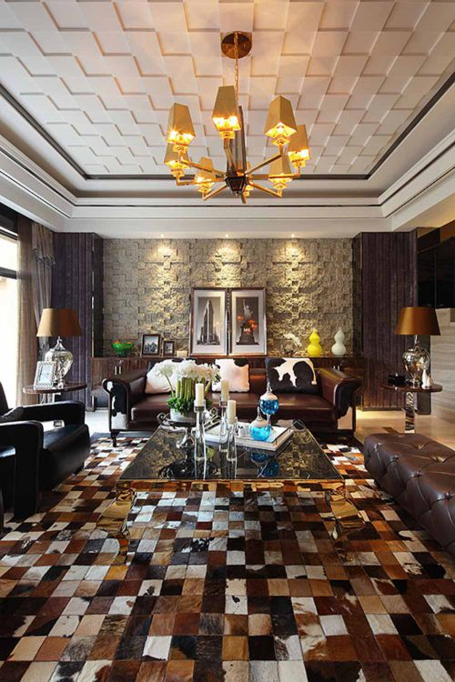 精致复古简欧风格客厅布置装潢