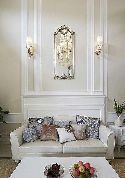 简欧风格白色客厅设计装潢