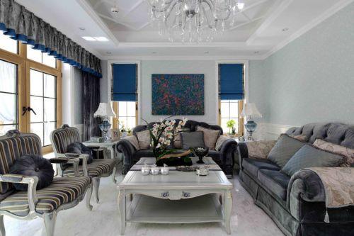 灰色简欧风格客厅装饰设计图片