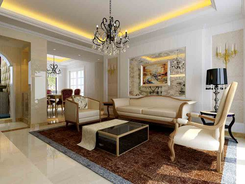 简欧白色客厅装潢布置