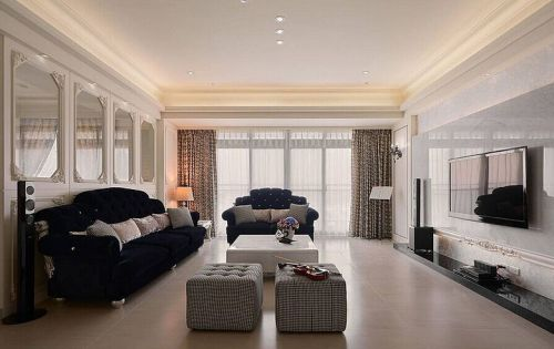 简欧米色客厅装饰设计图片