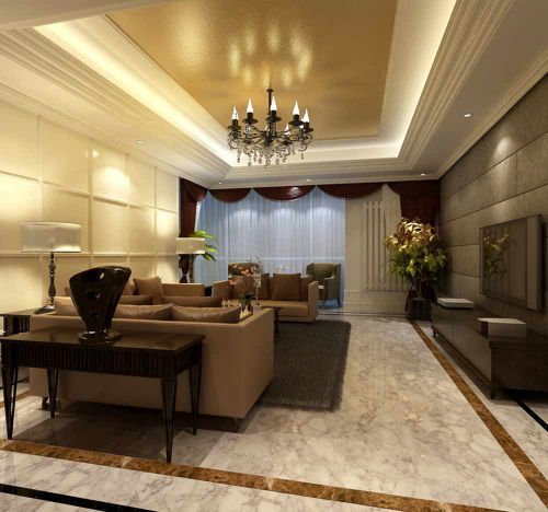 2016精致复古简欧风格客厅装修效果图片
