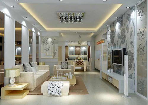 精致绚丽简欧风格客厅整体效果展示