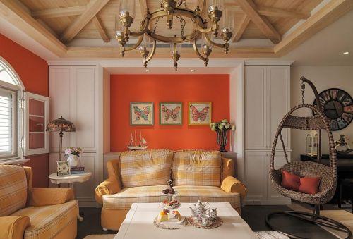 橙色时尚雅致简欧风格客厅效果图设计