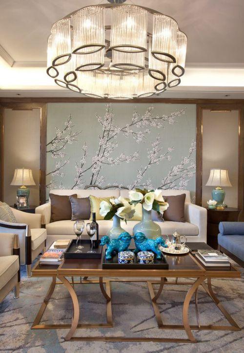 新古典风格米色雅致客厅装修案例