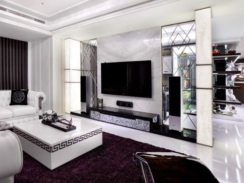 简欧风格黑色雅致时尚客厅装潢图片赏析