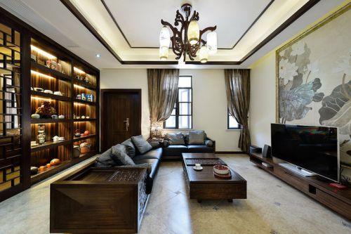 新古典风格雅致原木色客厅装修效果图