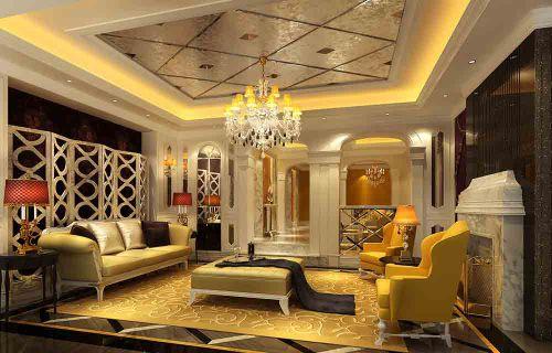 2016简欧风格暖色系客厅装修效果图片