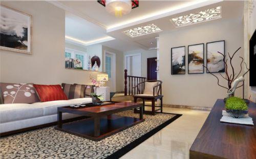 米色中式新古典客厅效果图赏析