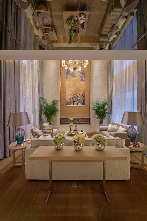清爽温暖新古典风格客厅整体设计效果图