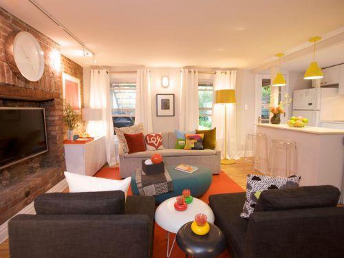橙色东南亚风格客厅装修图