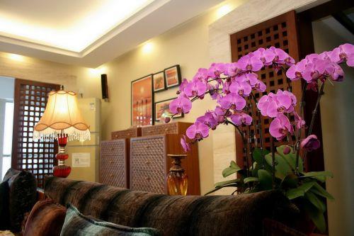 黄色东南亚客厅设计图片