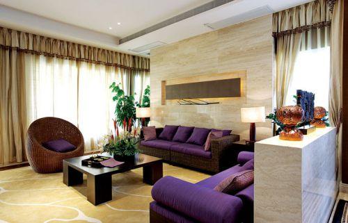 紫色气质东南亚客厅装修布置