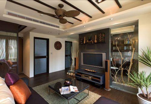 灰色东南亚风格客厅电视墙隔断设计