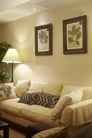 米色东南亚风格客厅沙发背景墙赏析