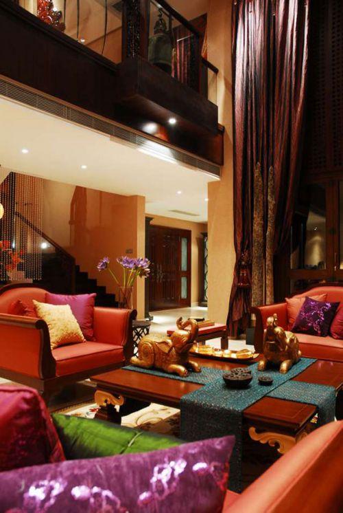 东南亚风格个性红色客厅装修设计