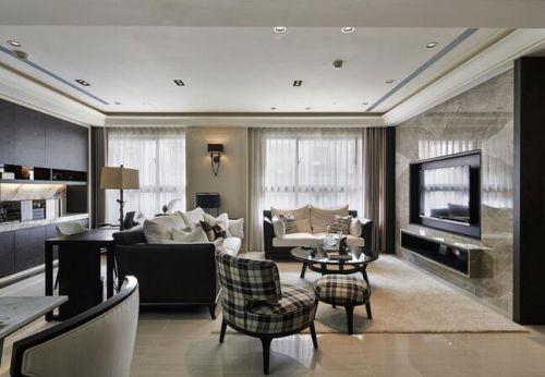 新古典风格客厅全景装修效果图片