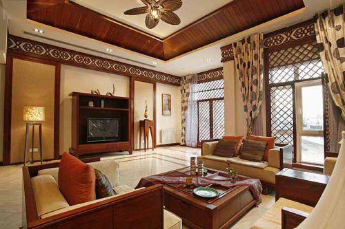 简派东南亚风格客厅装修效果图