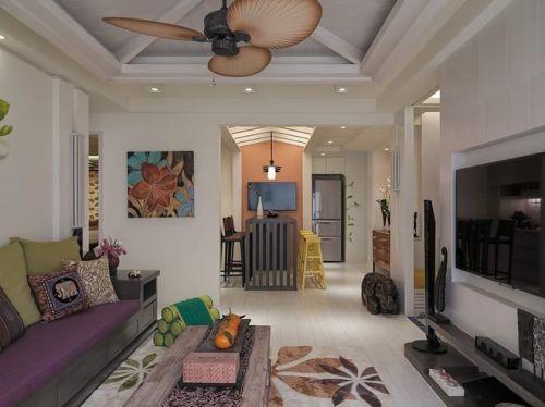 东南亚风格清新白色客厅装饰案例