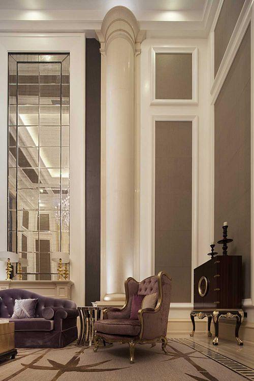 新古典时尚客厅局部装潢设计