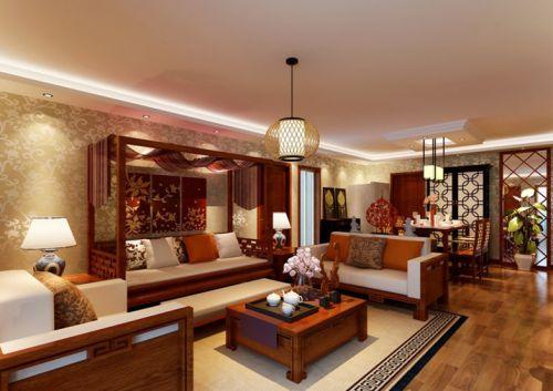 橙色东南亚风格客厅设计欣赏