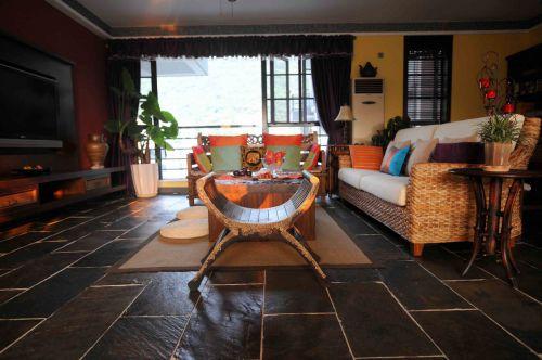 黑色雅致东南亚风格客厅设计图