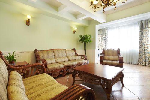 绿色清新东南亚风格客厅装修设计