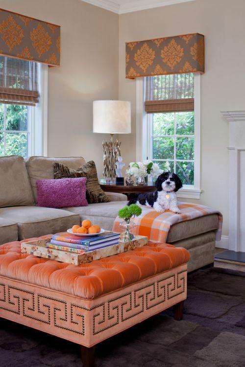橙色创意东南亚风格客厅效果图赏析