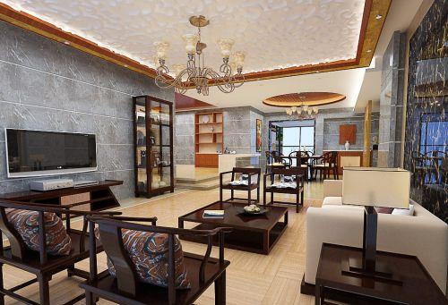 蓝色素雅新古典风格客厅装修案例