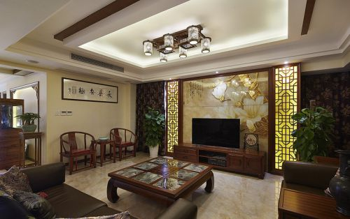 中式风格雅致黄色客厅装修欣赏