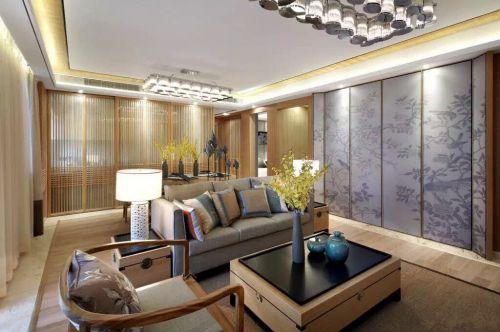 中式风格素雅米色客厅装修设计2018