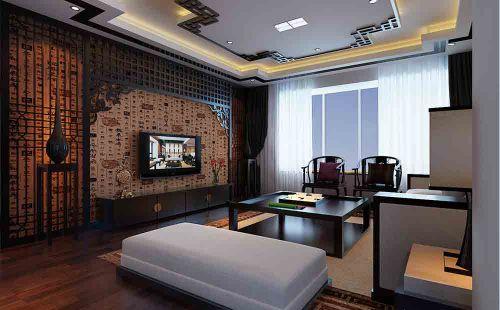 新中式简约客厅电视背景墙设计