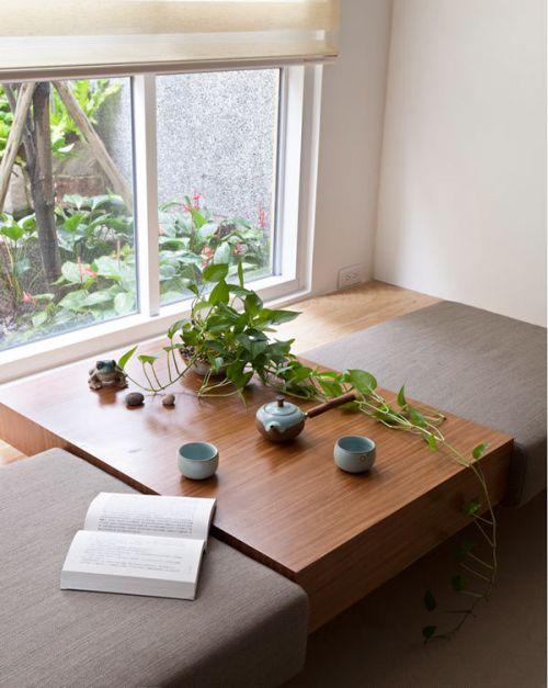 白色中式风格客厅榻榻米效果图