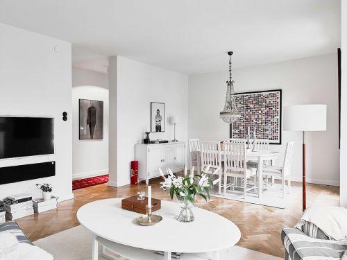 白色轻盈自然田园风格客厅装潢设计